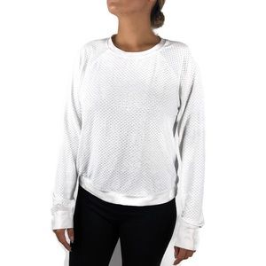 Revolve Koral White Mesh Long Sleeve Top Large